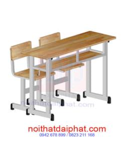Bàn học khung sắt mặt gỗ 2 ghế rời