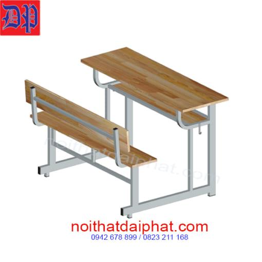bàn ghế liền có tựa gỗ cao su