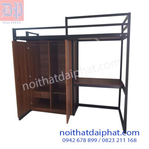 Giường sắt có tủ và bàn học